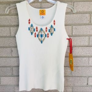 Ruby Rd. Ivory Sleeveless Embellished Knit Top